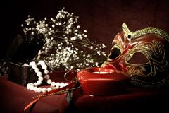 boudoir. abstract still life over red fabric - stock photo
