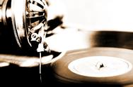 Stock Illustration of vintage phonograph close up shot with shallow depth of field