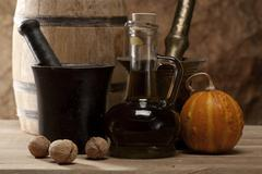 cousine still life over wooden desk - stock photo