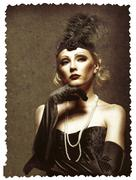 female retro portrait. 30's of the xx century. professional makeup - stock photo