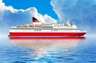 Stock Illustration of Cruise ship in ocean