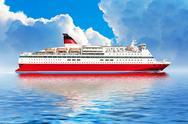 Cruise ship in ocean Stock Illustration