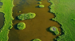 Aerial view coastal Island Wetlands Southern Florida Stock Footage