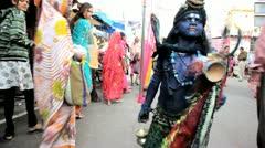 Boy dressed as Hindo God Rama Pushkar, India - stock footage
