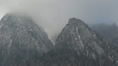 Mountains Winter Bad Weather Snowstorm Colorless Obscure Landscape Foggy Scenic - stock footage