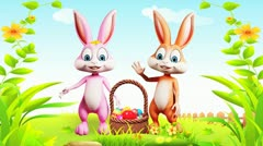 Easter bunny with eggs basket Stock Footage