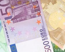 money background from euro banknotes - stock photo