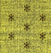 cotton fabric texture -yellow with khaki patterns xxxxl - stock photo