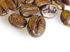 Coffee beans closeup photo. not isolated Stock Photos