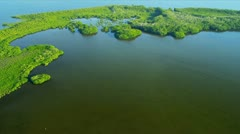 Aerial view showing  ecosystems, Southern Florida Stock Footage