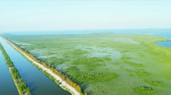Aerial view water cooling channels, Southern Florida Stock Footage