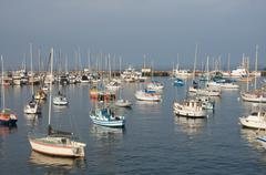 Stock Photo of Large group of sail boats in a marina