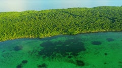 Aerial view clear coastal  waters, Southern USA Stock Footage