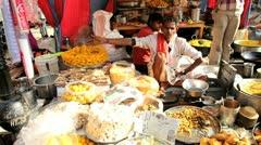 Food at local market food stall, Pushkar, India Stock Footage