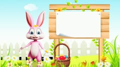 Easter bunny with eggs basket and big wooden sign Stock Footage