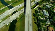 Stock Video Footage of Aerial view vehicles on elevated highways, Florida