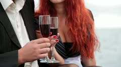 Love dating with glasses of wine - stock footage