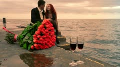 Romance dating by the sea - stock footage