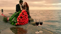 Romance dating by the sea Stock Footage