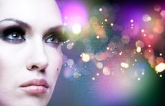 Art abstract female portrait with beauty bokeh Stock Photos
