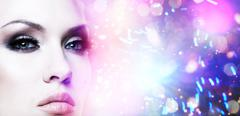 Female stylish portrait. abstract colorful background Stock Photos