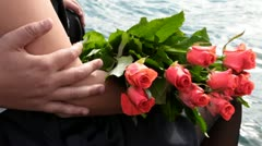 Couple with bunch of fresh flowers Stock Footage