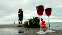 Love dating with wine and fresh flowers Stock Footage