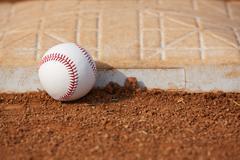 Baseball near third base Stock Photos