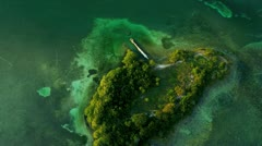 Aerial view of shallow lagoon waters, Florida Stock Footage