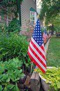US flags decoration on Independence day, 4th July Stock Photos