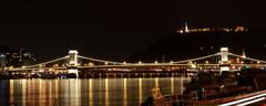 Budapest panorama with chain bridge at night Stock Photos