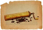 Coffee mill and beans in grunge style Stock Illustration