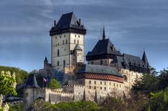 karlstejn - famous gothic castle - stock photo