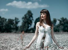 On the meadow, abstract natural backgrounds with beauty young woman Stock Photos