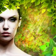 Lady nature. abstact natural backgrounds with beauty female portrait Stock Photos