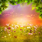 Stock Illustration of mystical evening on the meadow. abstract natural backgrounds for your design