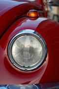 Old vintage classic VW Beatle car closeup - stock photo