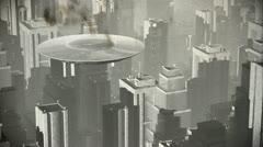 UFO in Futuristic Metropolis 2 vintage 720 - stock footage