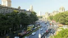 Mumbai towards Chhatrapati Shivaji Terminus, India, T/Lapse Stock Footage