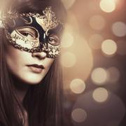 Carnival. female portrait with beauty bokeh for your design Stock Photos
