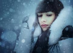 Stock Photo of snowfall. abstract female portrait with beauty bokeh