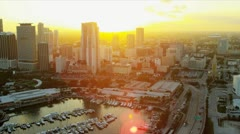 Aerial sunset view Bayside Market Place, Miami Stock Footage
