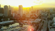 Stock Video Footage of Aerial sunset view Bayside Market Place, Miami