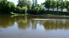 Green buoy flow river neris center vilnius city Stock Footage