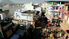Local vegetable market Pushkar, India Stock Footage