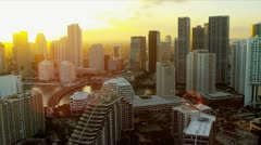 Aerial view setting sun over Miami Financial district Stock Footage