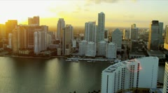 Aerial view setting sunset  Miami Financial district - stock footage