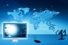 global communications and internet. abstract technology backgrounds - stock photo