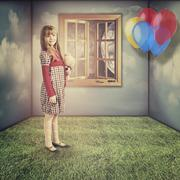 A little dreams. funny retro female portrait Stock Photos