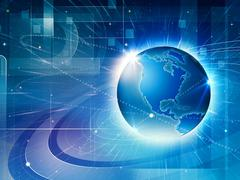 Global information network. abstract techno backgrounds Stock Photos